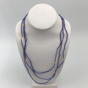 Handmade Blue Long Beads Necklace